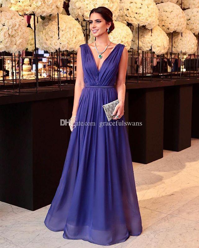 Chiffon A-Linie mit tiefem V-Ausschnitt Elegante Ballkleider Lange Trägerfalten Königsblau Abendkleider Rückenfrei Partykleider