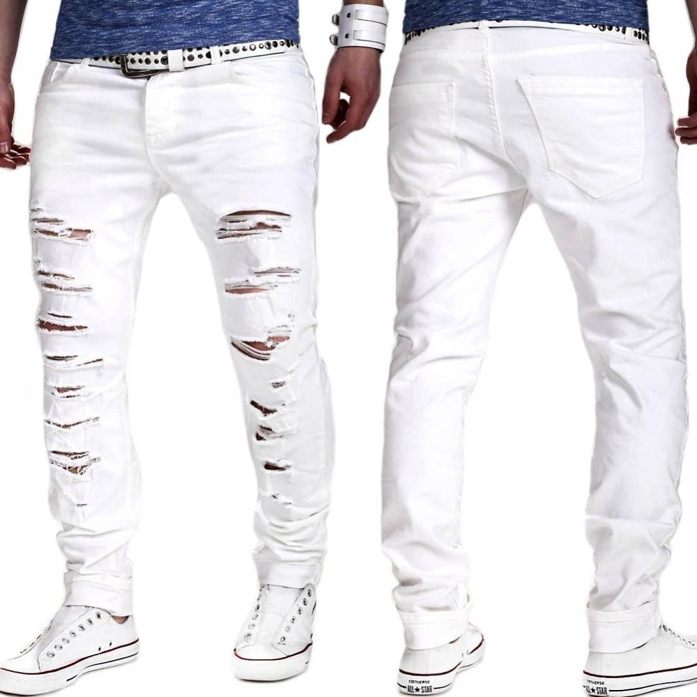 1fa57fe184 2019 Wholesale Ripped Denim White Jeans New Men Biker Distressed Jeans Mens  Destroy Skinny Jeans Homme Famous Brand Men Designer Pants Joggers From  Hongyeli ...