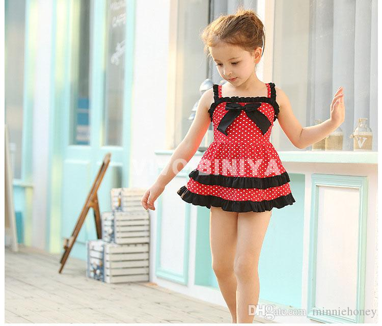 ffd2353caafc0 Children Girls Swimwear Cute Baby Dot Skirt Highly Elastic Comfortable  Swimsuit Two Pieces With Swimming Cap Canada 2019 From Minniehoney, ...