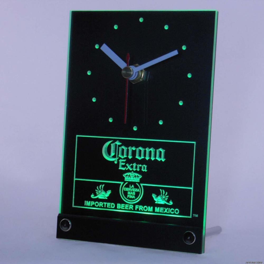 2018 wholesale tnc0097 corona mexican beer 3d led table desk clock