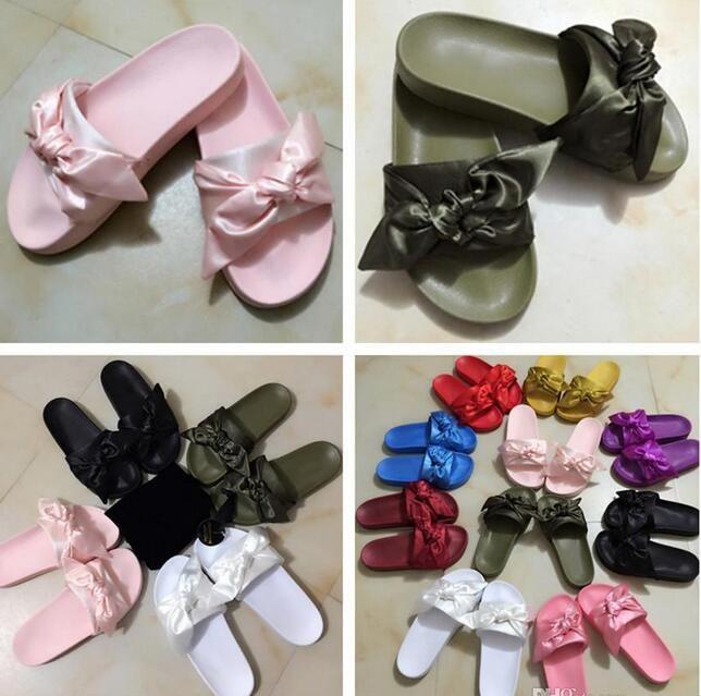sports shoes c6ab2 6548c Fenty Rihanna Bandana Slide,Fenty Slides Women Slippers Fenty Bow Slide  Slipper On Sale,Send With Box