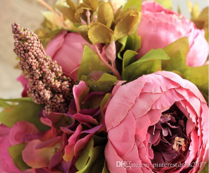 Bouquets de Casamento Artificiales Nuevos Ramos de Novia Ramo de Dama de honor Ramo de Novia con Flores Encaje Vintage Buque de Noiva
