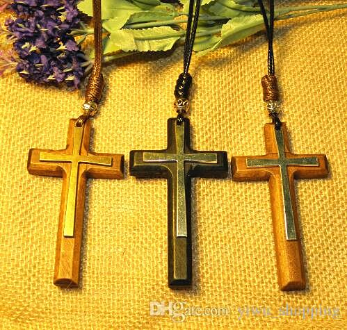 Wholesale jesus 3d wood cross pendant necklacea vintage tibetan wholesale jesus 3d wood cross pendant necklacea vintage tibetan silver beads leather cord sweater chain handmade men women stylish xms gifts round pendant aloadofball Choice Image
