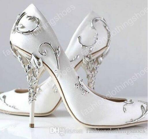 da18cf708c1 Ralph & Russo Silver Leaf Brand Wedding Dress Bridal Pumps for women Thin  high heels White Satin Ladies Pumps Slip on Solid Single Shoes