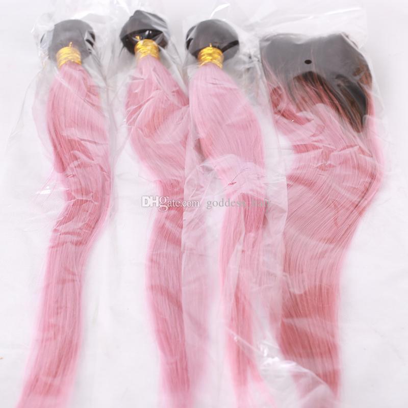 Recién llegado sedoso recto 1b rosa paquetes de cabello humano con encaje frontal 13x4 raíz oscura Ombre rosa extensión del cabello con cierre frontal