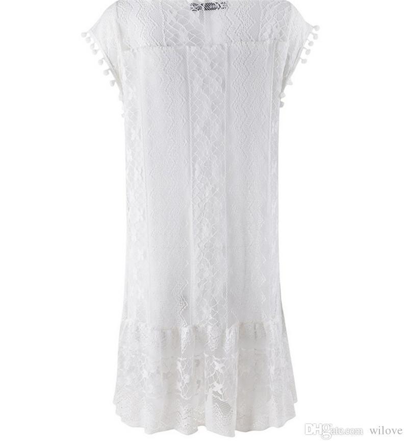 Neue Casual Kleider Sexy Frauen Sommer Sleeveless Abendgesellschaft Cocktail Quaste Solid Lace Short Mini Kleid