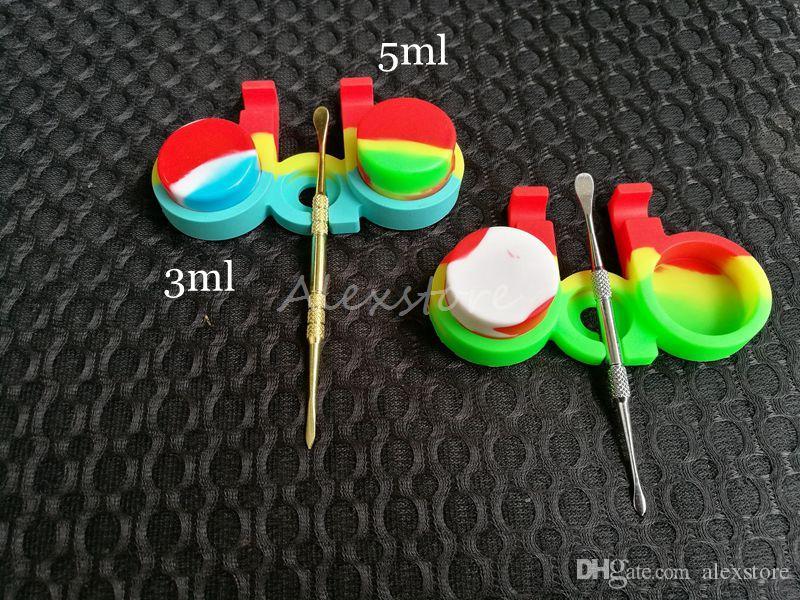 Contenants de cire antiadhésifs support boîte de silicone dabber jarres de cire de qualité alimentaire bocal de stockage dab pour 3 ml 5 ml
