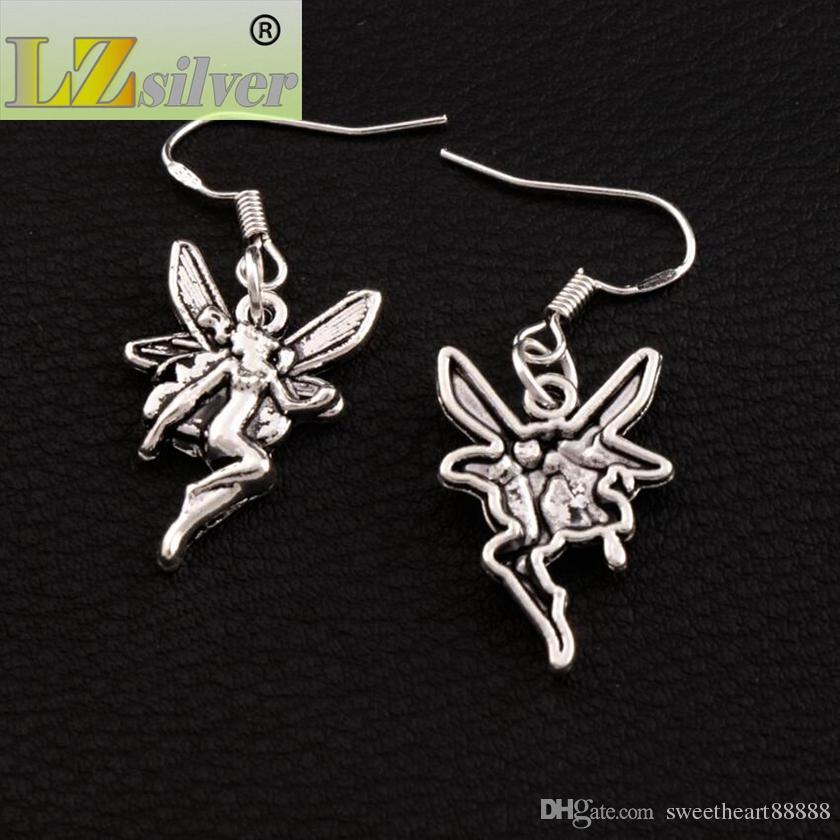 Flying Angel Earrings 925 Silver Fish Ear Hook Antique Silver Chandelier E195 37x14.7mm