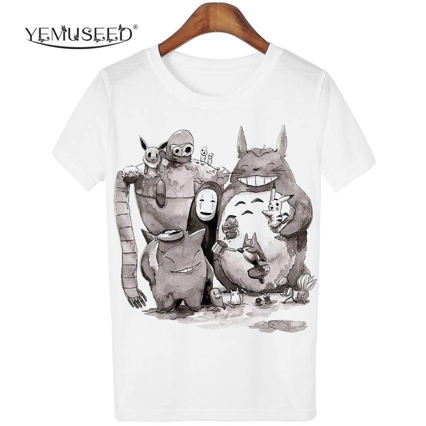 b6650c3c0c1f6 Wholesale-New Cute Totoro T Shirt Women Cartoon 3D Harajuku Casual ...