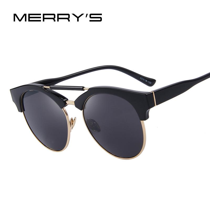 3a37d2b3770 Wholesale- MERRY S Women Semi-Rimless Round Sunglasses Double-Bridge ...