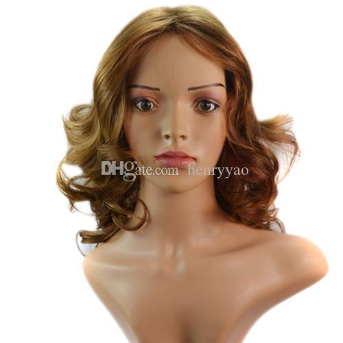Curto Sprial Curls Perucas de Cabelo Sintético Barato Médio Side Bang Peruca para As Mulheres Resistente Ao Calor Peruca Sintética