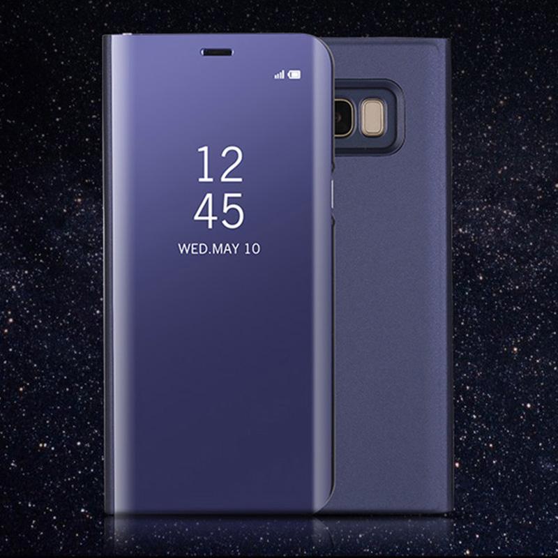 d95d92dab Compre Novo Para Samsung S8 Clear View Casos De Telefone Flip  Galvanoplastia Virar Espelho Celular Phone Case Para Samsung Galaxy S7   S7  Borda S8 S8 Além ...