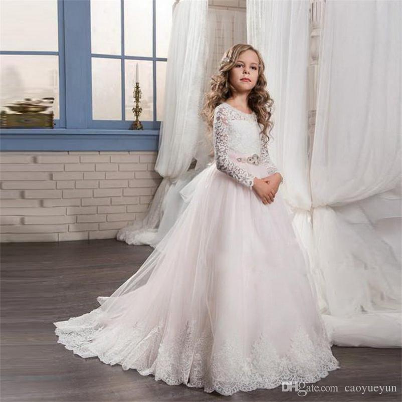 2019 Girl Dress romantico fiore bianco e rosa matrimoni in tulle con pizzo a manica lunga abito di sfera prima comunione abiti