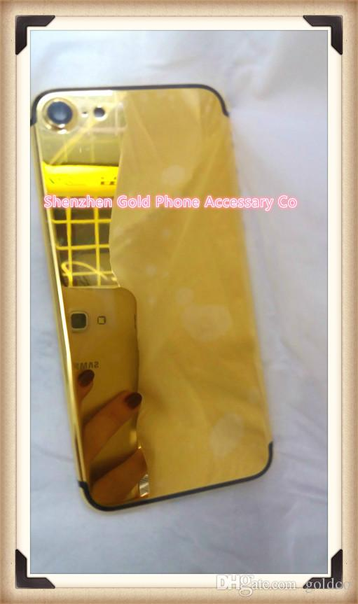 yellow real Gold Dubai Plating Back Housing Cover Skin Battery Door For iPhone 7 7+ Luxury Limited Edition 24Kt Golden for iphone7