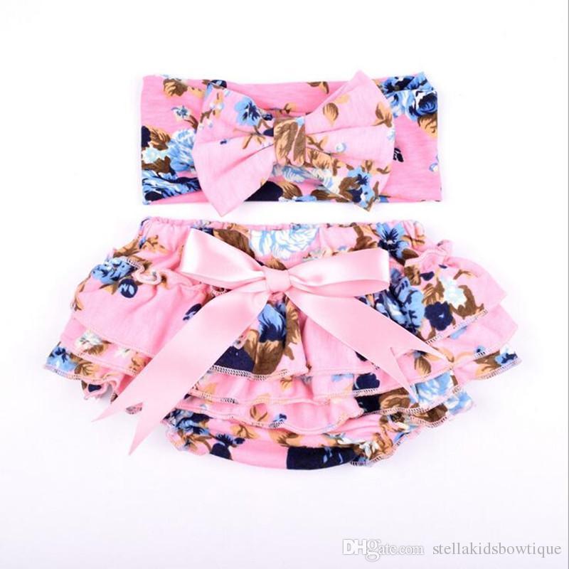 Großhandel stricken Baumwolle Floral Baby Mädchen Bloomer Set grün Rüschen Neugeborenen Windel Cover passenden Stirnband Set Baby Shorties