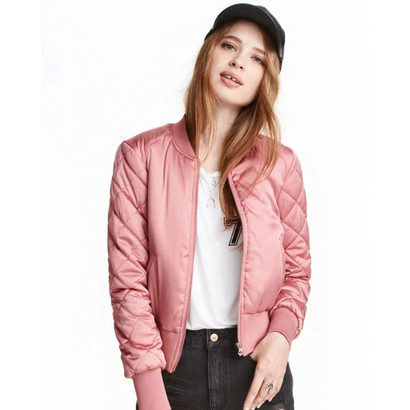 Women Argyle Bomber Jacket Flight Jackets Casual Coats Ladies Solid