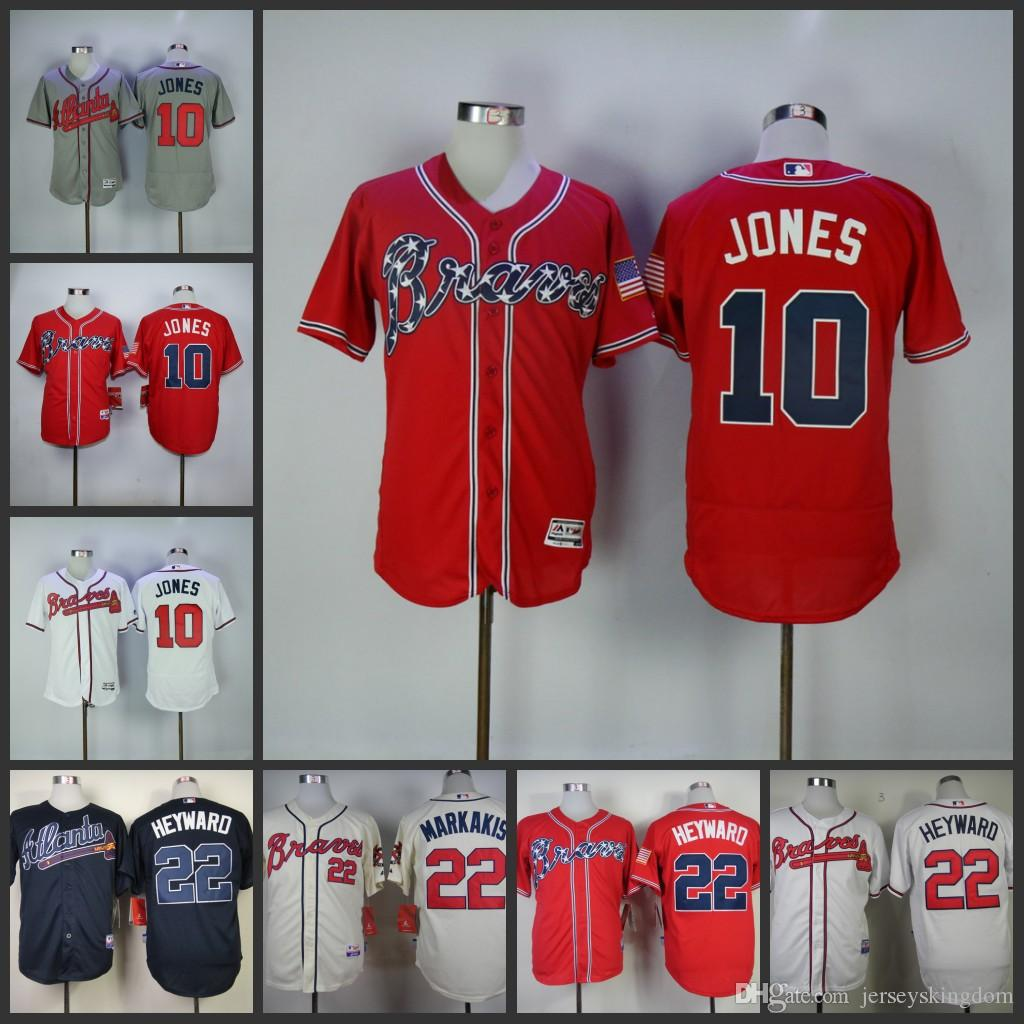 b2f1a6ee6 ... 2017 Mens Atlanta Braves Jersey 10 Chipper Jones 22 Nick Markakis White  Cream Navy Blue Red ...