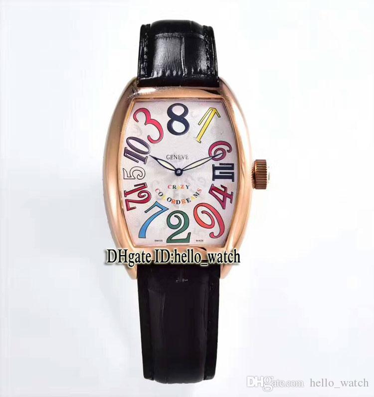 고품질 CRAZY 시간 8880 CH 블랙 다이얼 자동 시계 로즈 골드 가죽 스트랩 고품질 새 스포츠 싸구려 시계