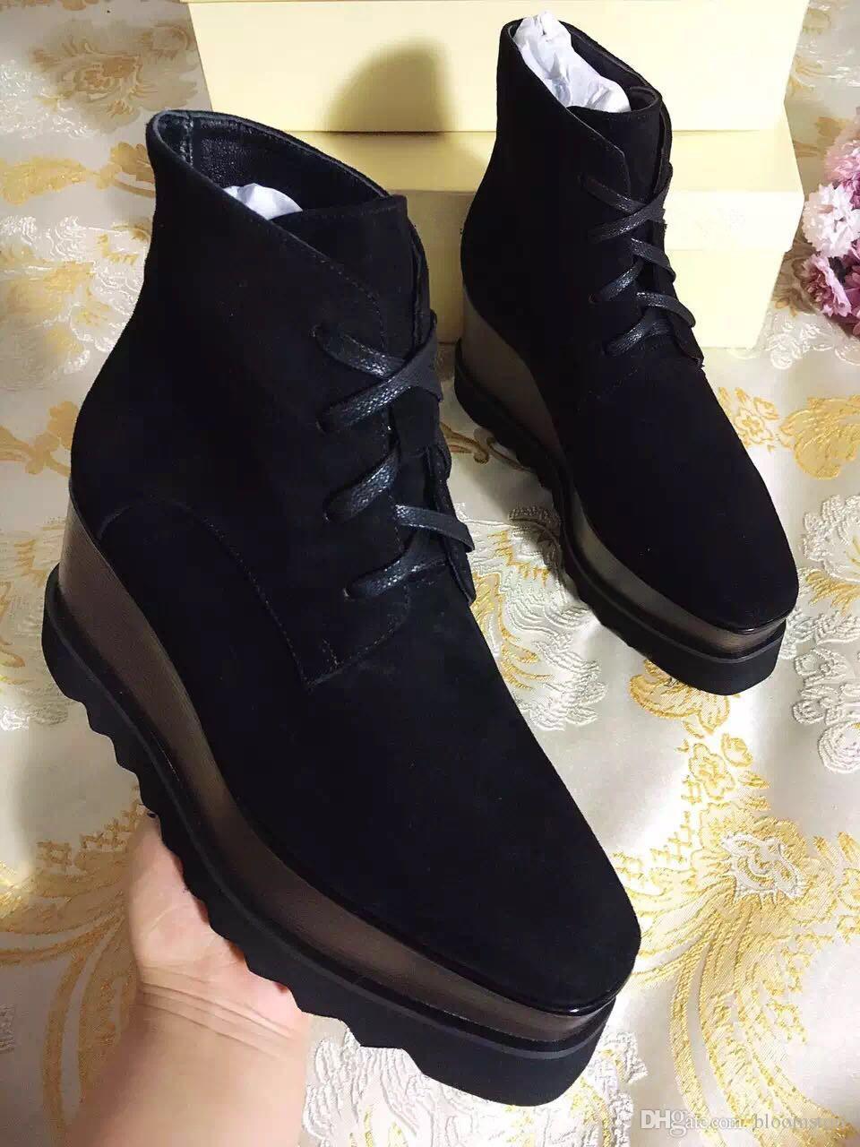 Luxus-Designer-Plattform Stiefel Damen Schuhe Elyse Sterne Wedges Top-Qualität Blingbling Leder Oxfords Schuhe 15 Farben Sneakers