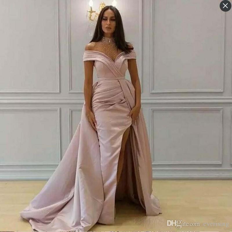 Modabelle Vintage Sparkly High Neck Beaded Prom Dress Saudi Arabia Pink  Evening Dress With Overskirt Formal Party Gown Vestido De Festa Ladies Formal  Wear ... b6eba811091e