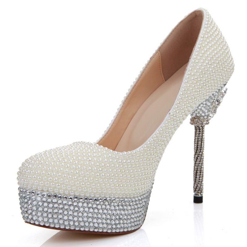 14cm Heels Ivory Pearl Bridesmaid Shoes Wedding Bridal High Heel Shoes Stilettlo Heel Wedding Celebration Party Pumps