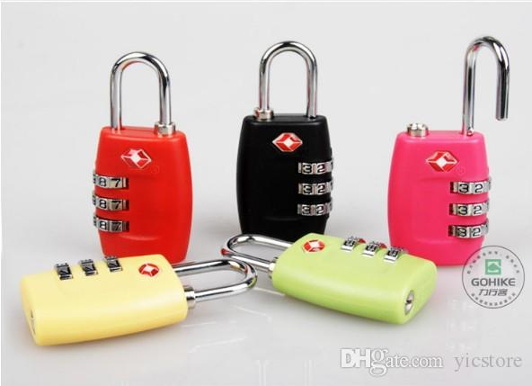 الجمارك الأمتعة الأمتعة قفل TSA338 3 أرقام الجمع قفل قفل حقيبة سفر قفل أقفال TSA