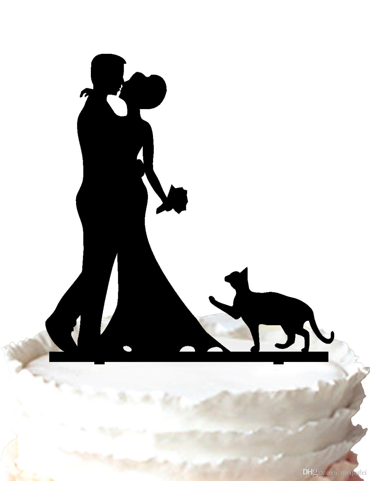 2018 Wedding Cake Topper RusticBride And Groom With Cat Silhouette For Option From Meijiafei 1731