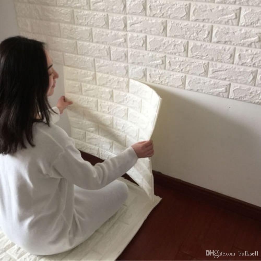 White 3d Modern Design Brick Wallpaper Roll Vinyl Wall Covering Wall