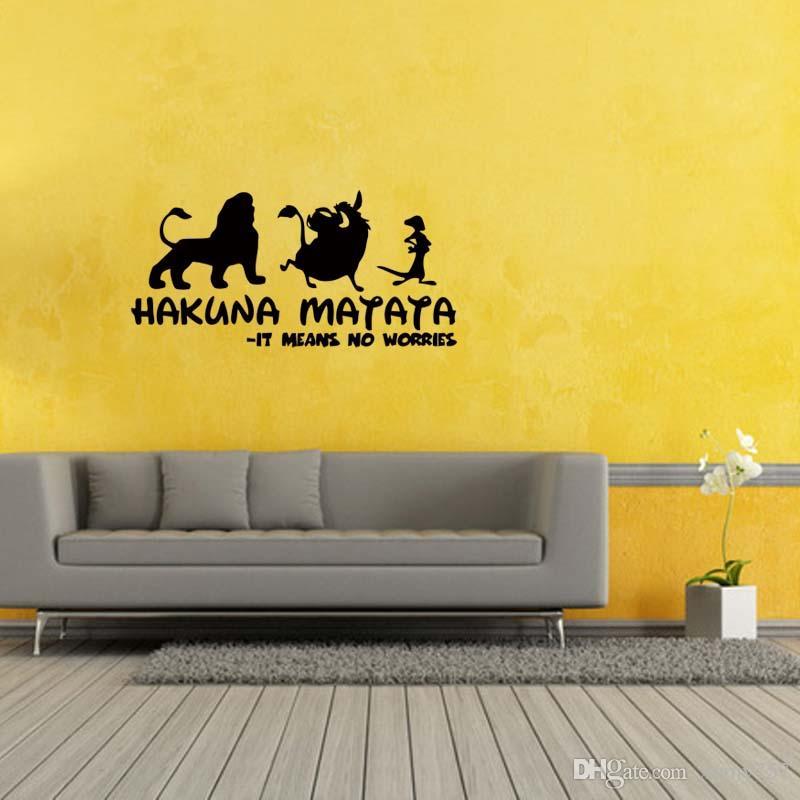 Hakuna Matata Lion King Quote Simba Timon Pumbaa Removable Wall Art Vinyl Decal  Sticker Diy Decor Wall Stickers For Boys Wall Stickers For Children From ... Part 63