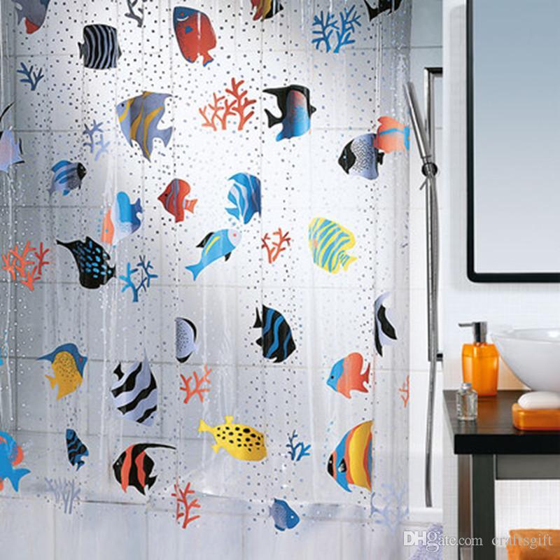 Children S Bathroom Shower Curtains.2019 180 200cm Tropical Fish Pvc Plastic Bathroom Shower Curtain Mildew Proof Thick Waterproof Thicken Underwater World Children Shower Curtain From