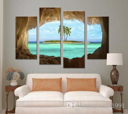 Fashion Decor Cave Seacape Painting Living Rooms Set Wall Painting Print On Canvas For Home Decor Ideas Paints On Wall Pictures Art No