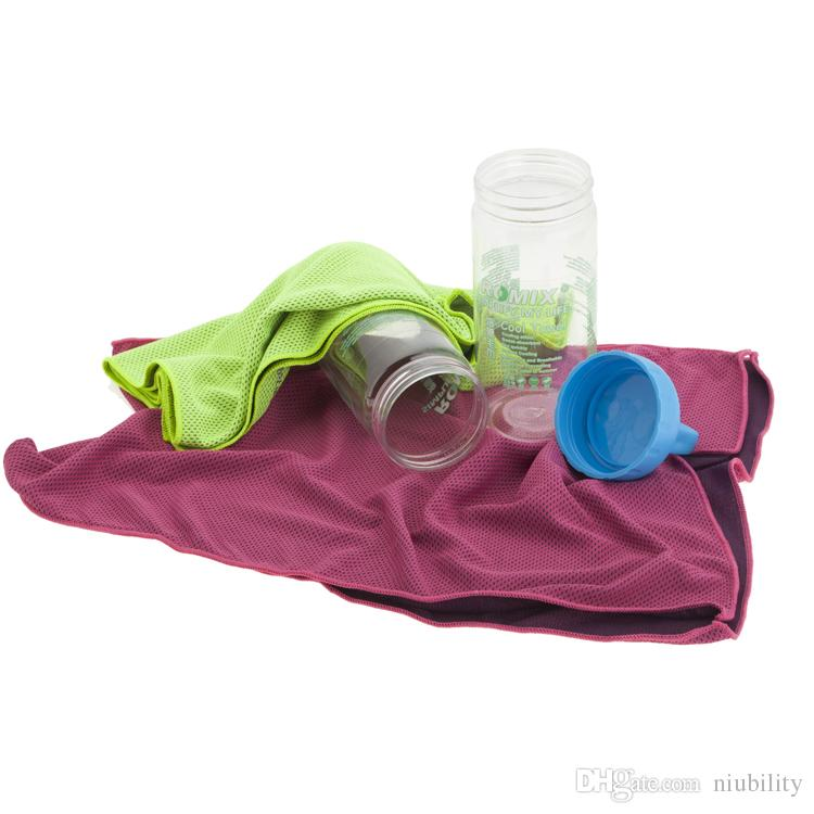Cool Towel in Drinking Bottle Fitness Yoga Summer Dual Layer Sports Outdoor Ice Cold Scaft Scarves Pad Quick Dry Washcloth Fast Ship!