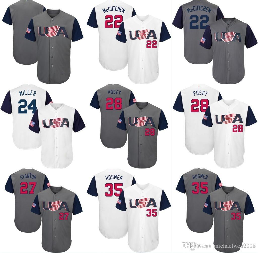 a22b96d8318 World 2017 USA Baseball Jerseys 27 Giancarlo Stanton 10 Adam Jones 12 Nolan  Arenado 28 Buster Posey .