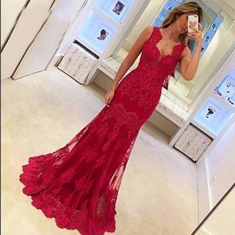 Elegante rojo 2019 con cuello en V apliques de cordón largo Vestidos de noche largo Spaghetti Correas Tulle Vestidos de noche Vestido de baile Vestido de Festa