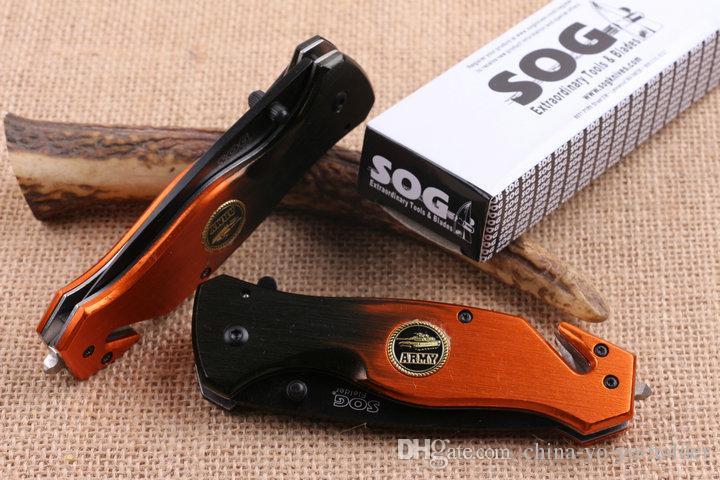 Herramienta de corte SOG EDC Navaja de bolsillo 5CR15MOV camping Cuchillo plegable Hoja serrada cuchillos tácticos de supervivencia Regalo F921L