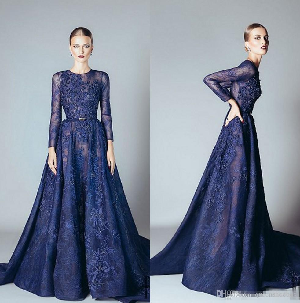 2017 Navy Blue Evening Dresses Elie Saab Ruffles Beaded Appliques ...