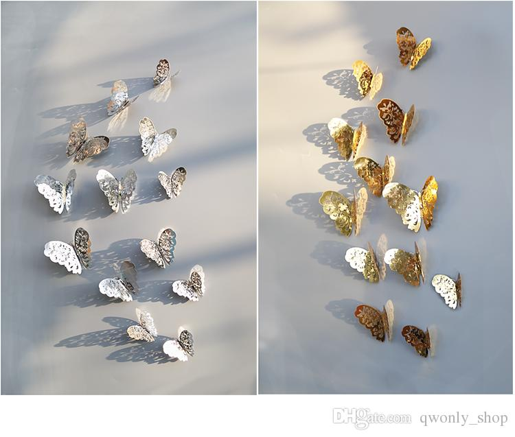 3D PVC Wall Stickers Gold Silver Butterflies Hollow DIY Home Decor Poster Kids Rooms Wall Decoration Party Wedding Decor