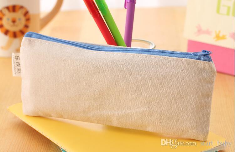 20.5 * 8.5 cmDIY Lona blanca en blanco con cremallera lisa Bolsas de lápiz bolsos de papelería organizador del embrague bolsa de almacenamiento de Regalo