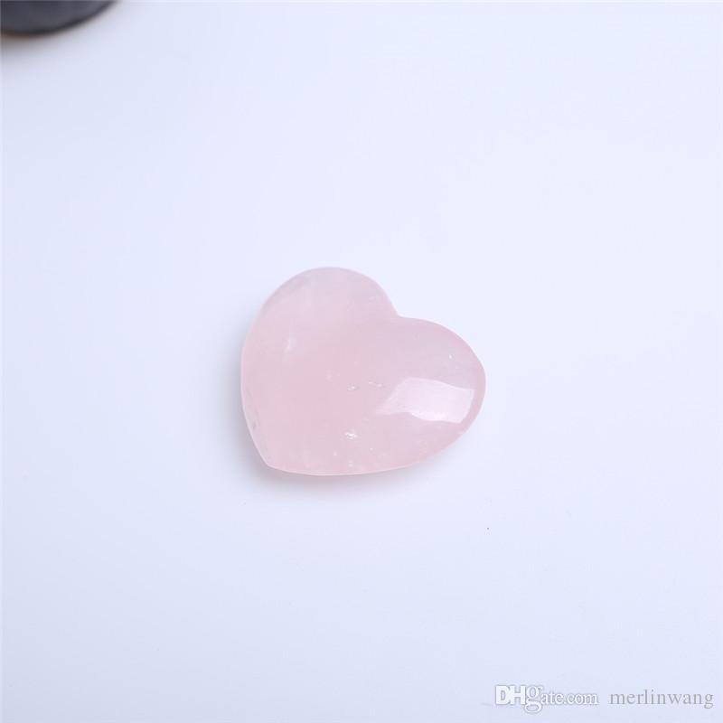 HJT rose pink Quartz crystal Heart Carving Craft Stone Chakra Healing Reiki Stones Lover gife stone crystal Heart shape