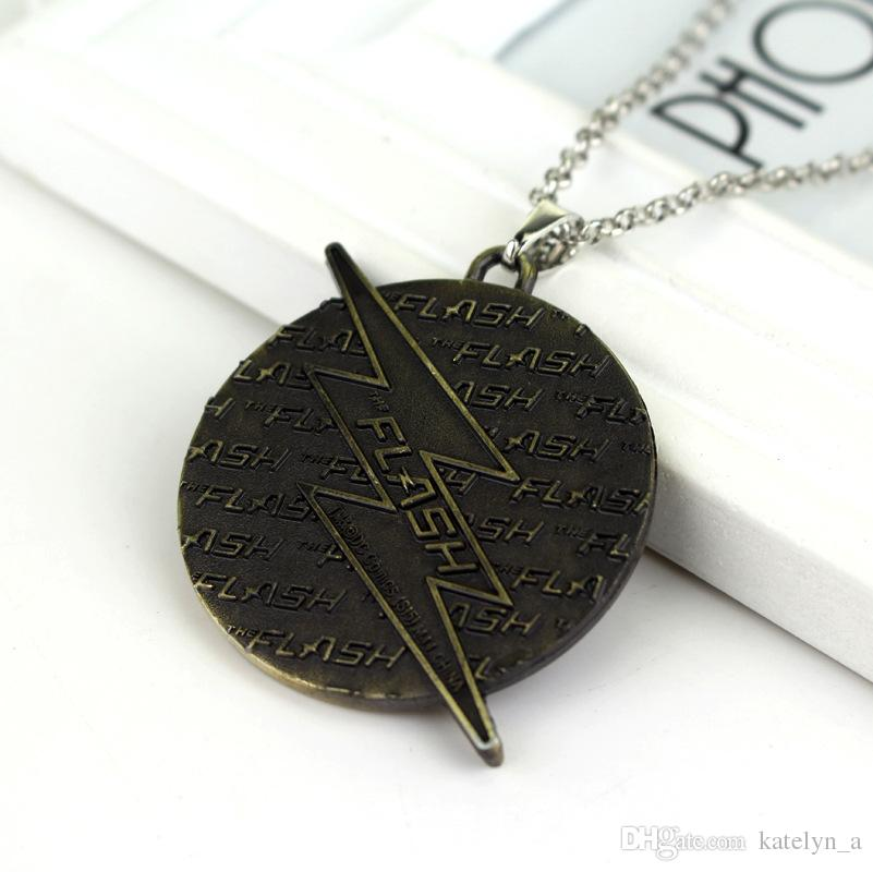 Punk style The Flash Choker Necklace Super Hero The Flash lighting logo Pendant Necklace Metal necklace