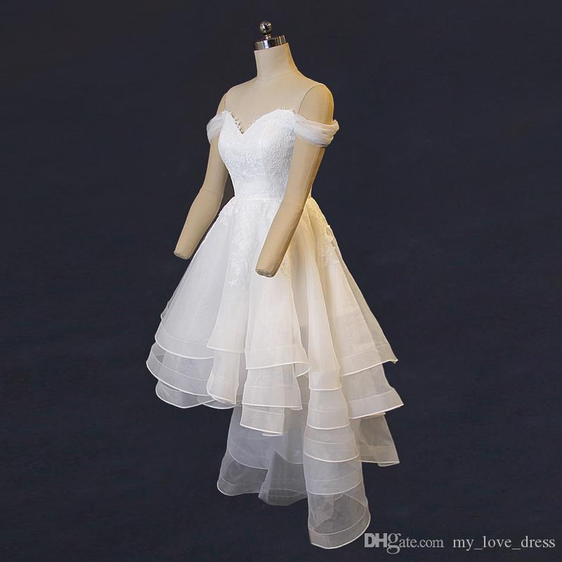 2018 Photos réelles Salut chérie Off robe de mariée Shouler volants Organza dentelle Top robe de mariée fermeture éclair