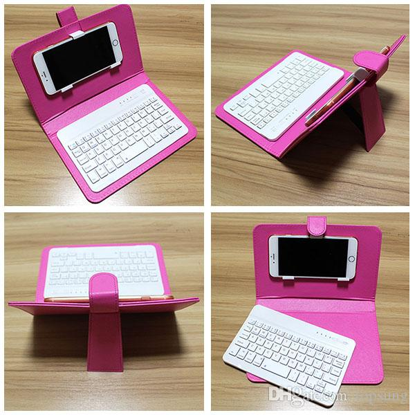 Phone Case with Bluetooth Keyboard For Iphone 6 6s Plus LG Xiaomi Huawei Samsung HTC Leather Flip Case with Detachable Keyboard