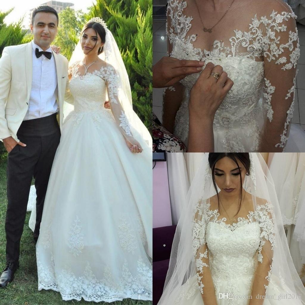 Discount 2018 New Arabic Wedding Dresses A Line Long Sleeves Jewel ...