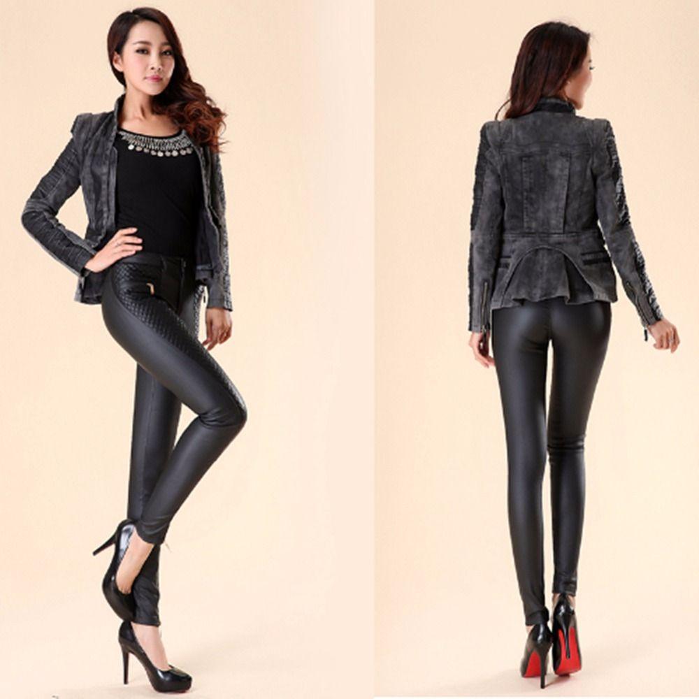 SERANDMIDO Frauen Lederhose PU-Taste Fly mit Reißverschluss Taschen Skinny Bleistift Hose Patchwork Damen Leder Leggings SMP011
