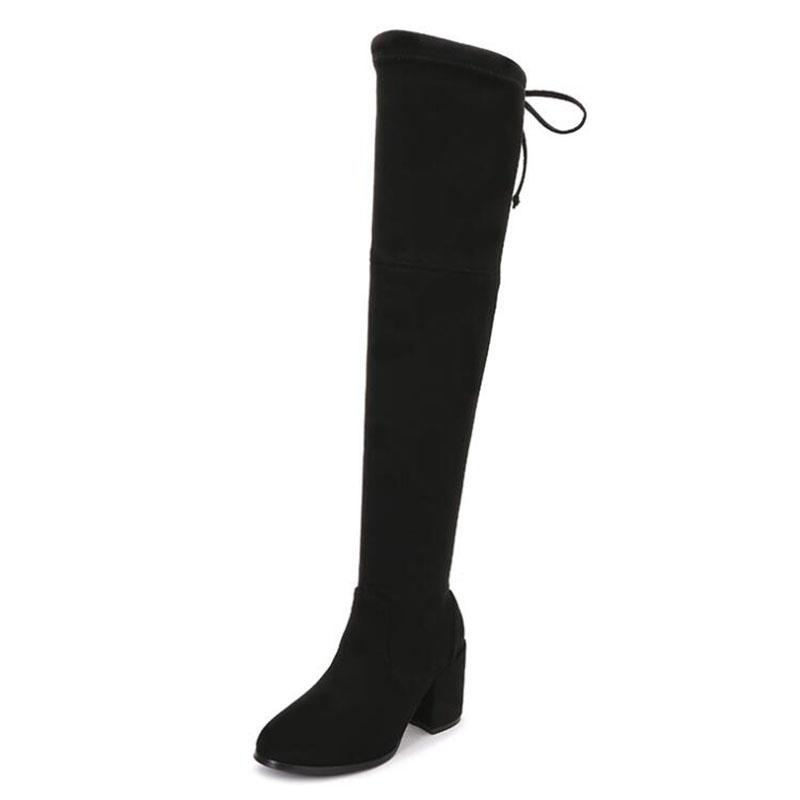 aff4fc3fd1ee New Arrival Women Stretch Suede Slim Thigh High Boots Sexy Fashion Over The  Knee Boots High Heels Woman Shoes Black Shoes Ski Boots Boots No 7 From ...