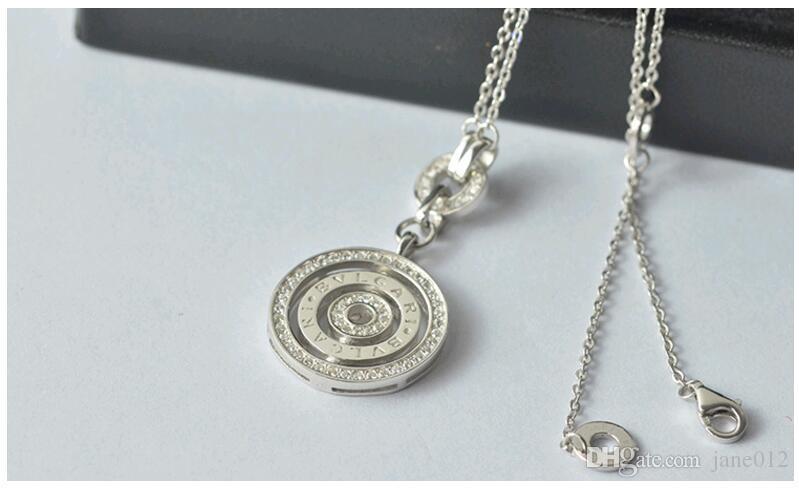 Nuovi monili solidi dell'argento sterlina 925 con le collane del pendente dei cerchi rotondi di grado superiore della lettera del rhinestone la festa di fidanzamento di nozze