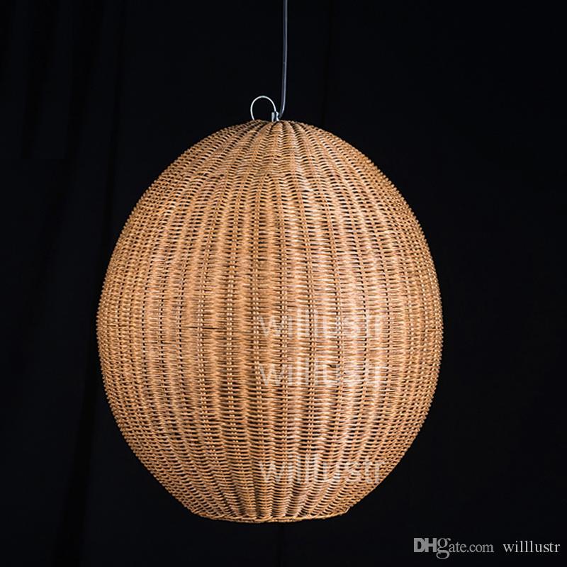 Willlustr Wicker Pendant Lamp Handmade Wood Suspension Light Rugby ...