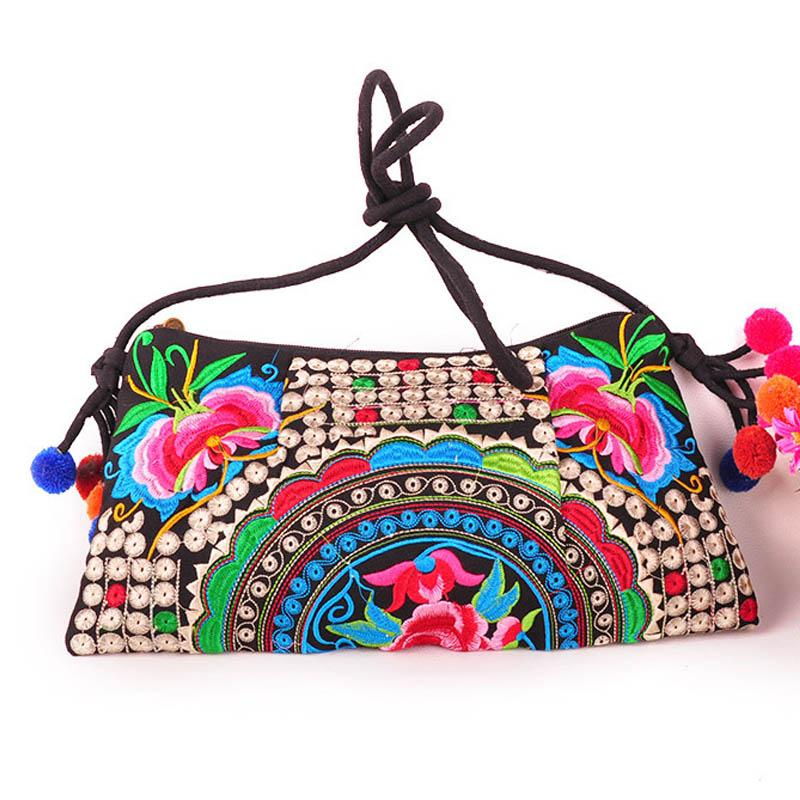 Wholesale-National Embroidered Bags Embroidery Unique Shoulder Messenger Bag Vintage Hmong Ethnic Thai  Boho Clutch Handbag 25 style