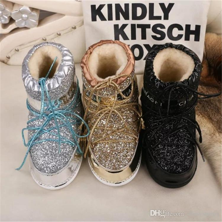 Shinny Bling Bling Women Tie Up Snow Boots Round Toe Plush Inside Fur Winter Warm Ankle Boots Height Increasing Shoes