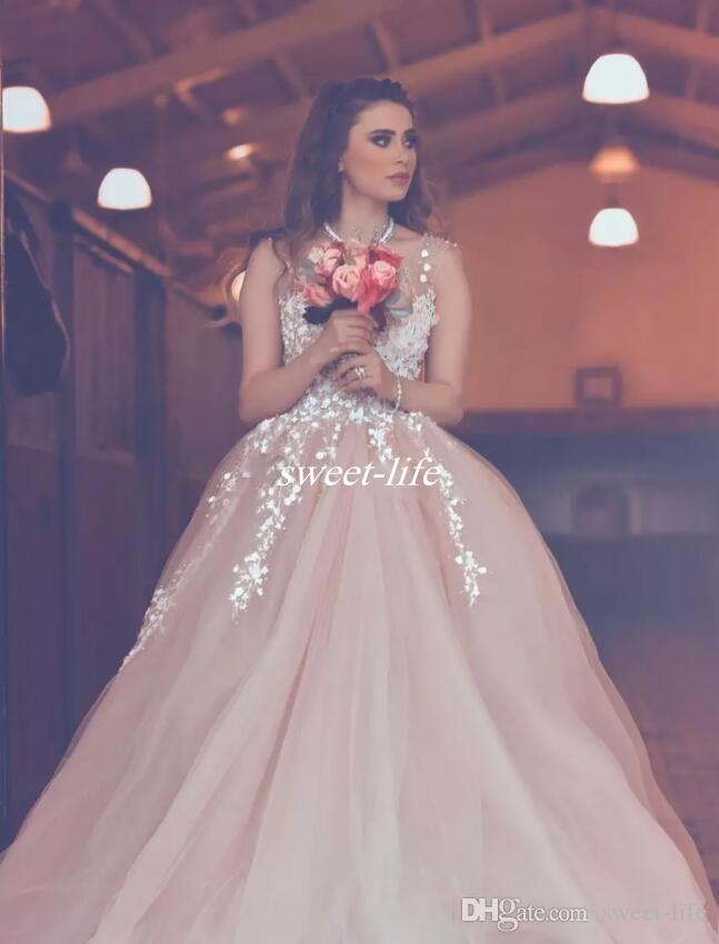 2017 Blush Pink Princess Ball Gown Prom Dresses Sheer Neck Lace Appliques Celebrity Evening Gowns Zipper Back Cheap Party Dress